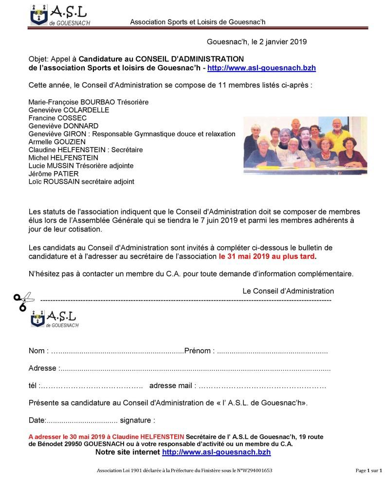 Appel candidature CA 2019